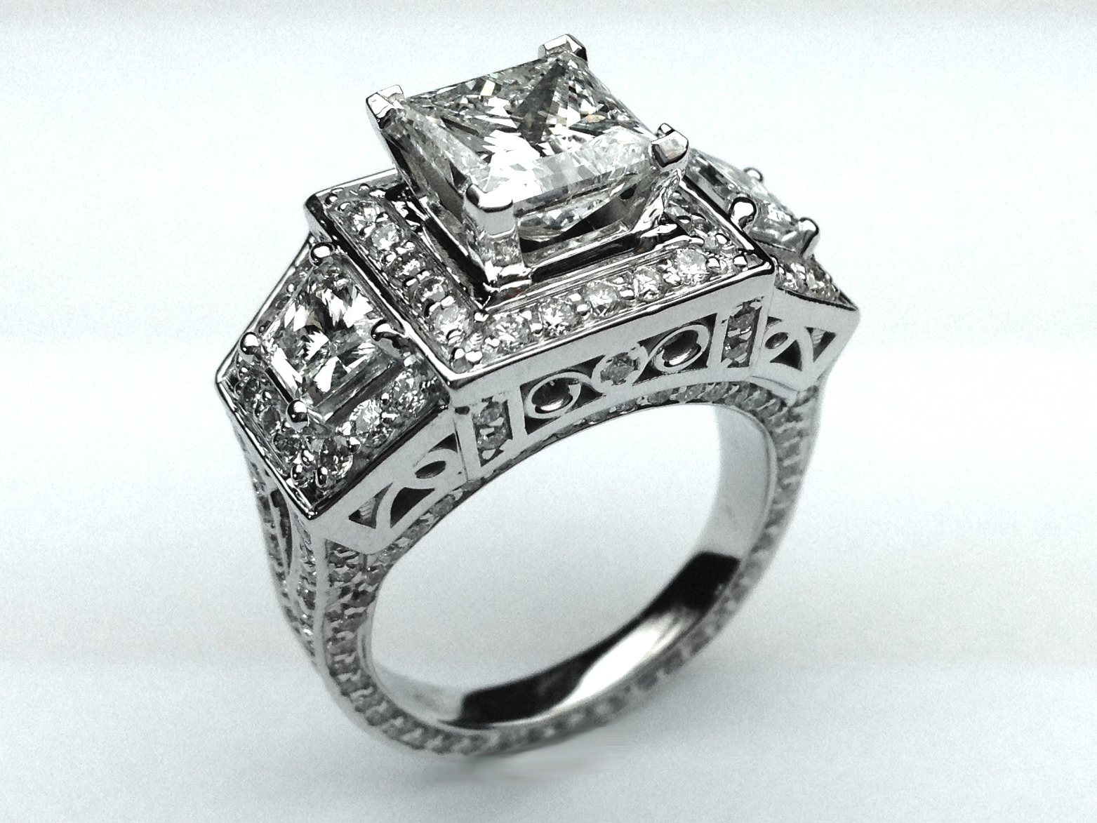 wedding print stl square ring cut cgtrader model models rings jewelry diamond