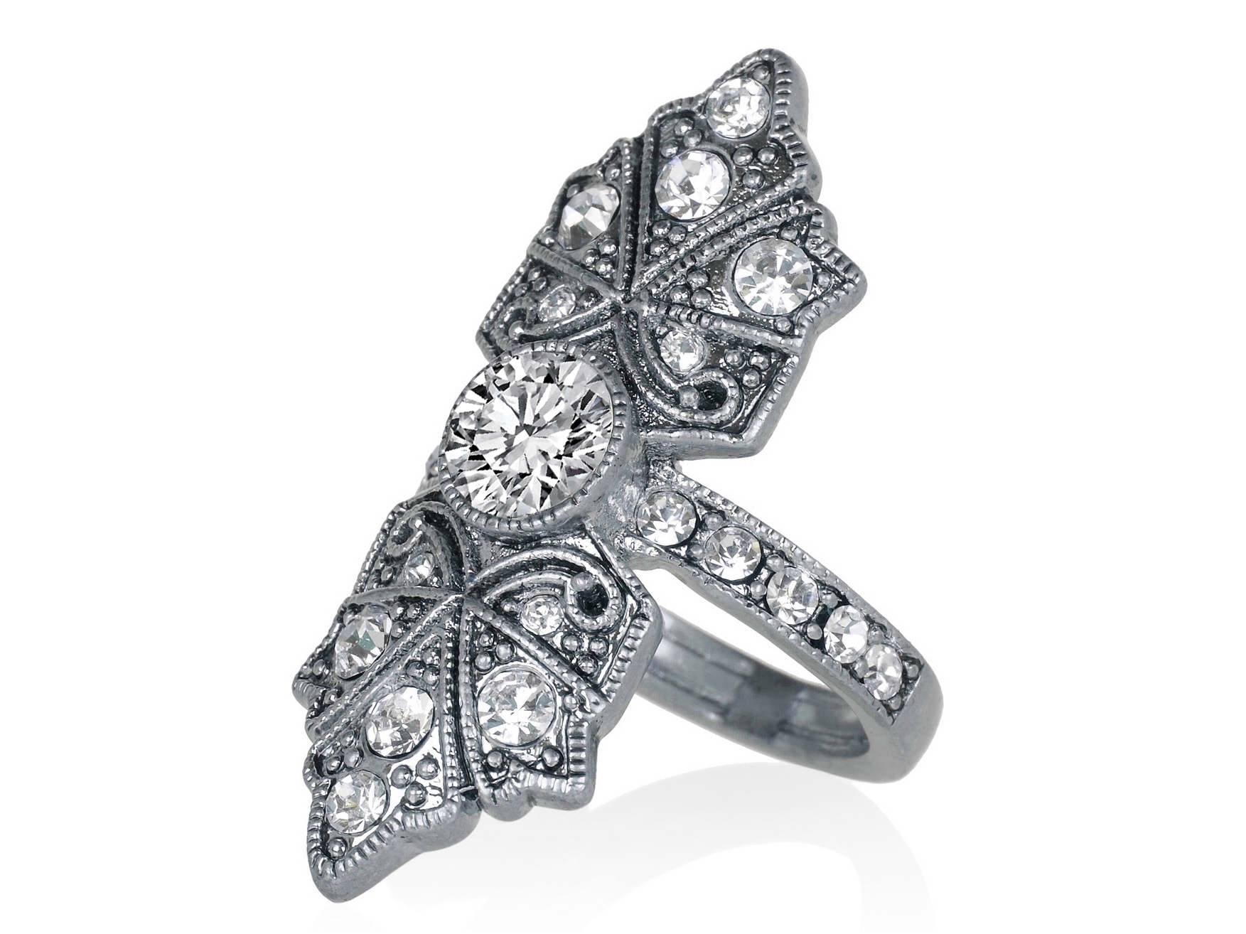 Butterfly Edwardian Diamond Engagement Ring in 14K White Gold