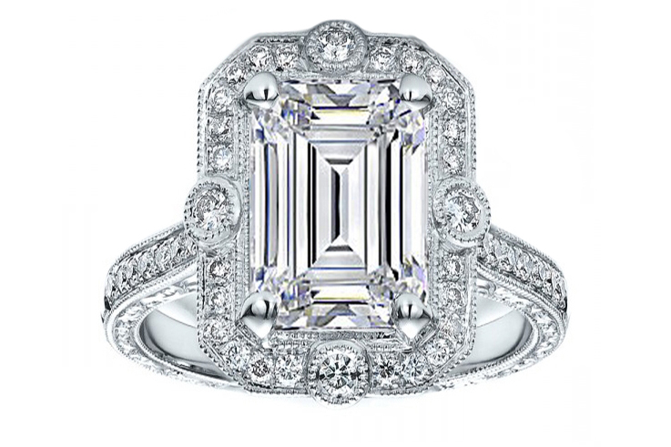 Emerald Cut Diamond Halo Vintage Engraved Engagement ring in 14K White Gold