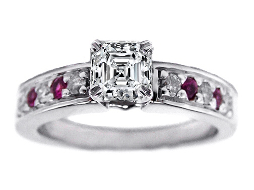 Asscher Cut Diamond Engagement Ring with Pink Sapphires and Round Diamonds 0.18 tcw. In 14K White Gold