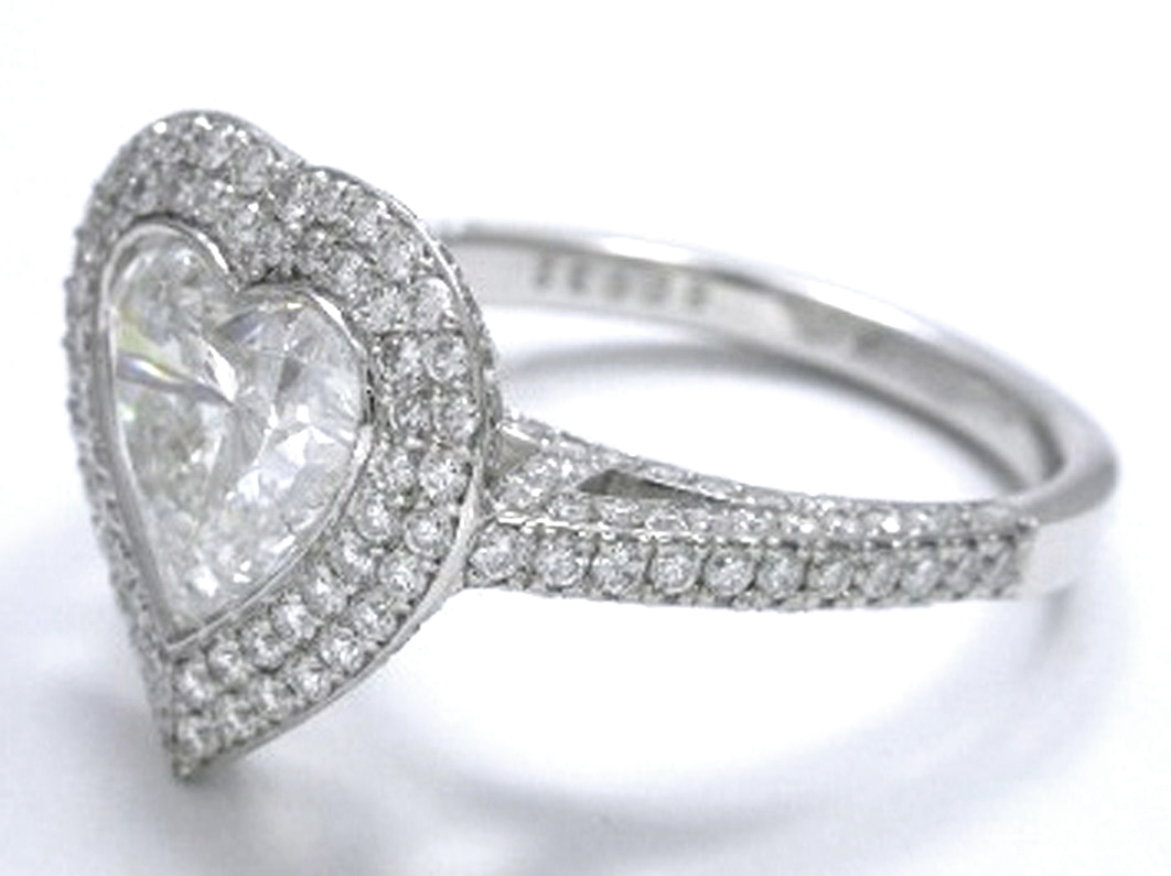 Large Heart Shape Diamond Double Halo Engagement Ring In 14k White Gold