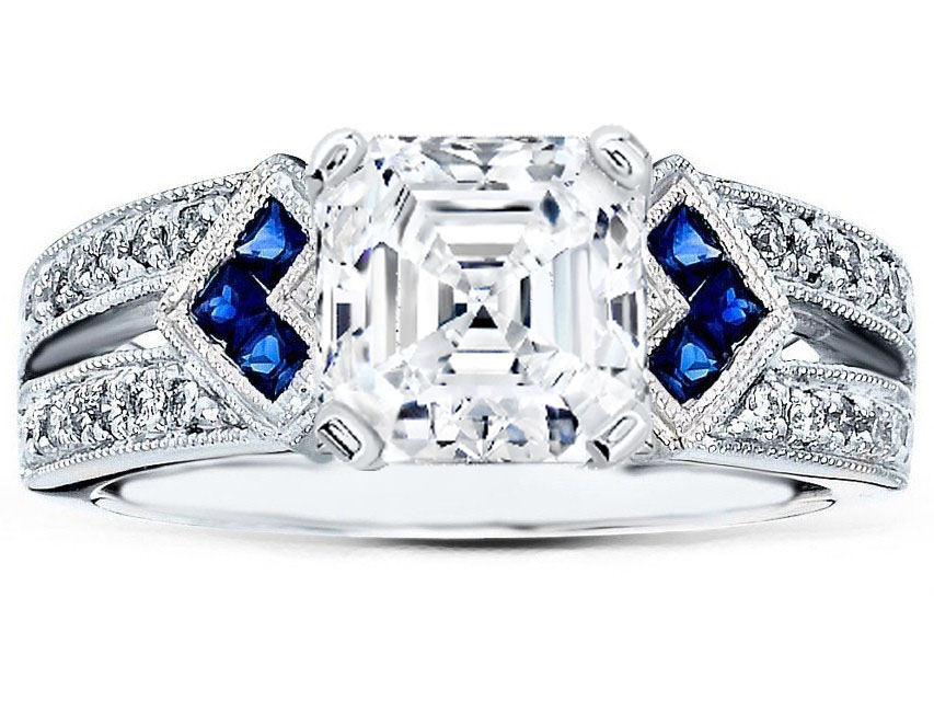 Asscher Diamond Engagement Ring Trio Blue Sapphire double diamond band in 14K White Gold