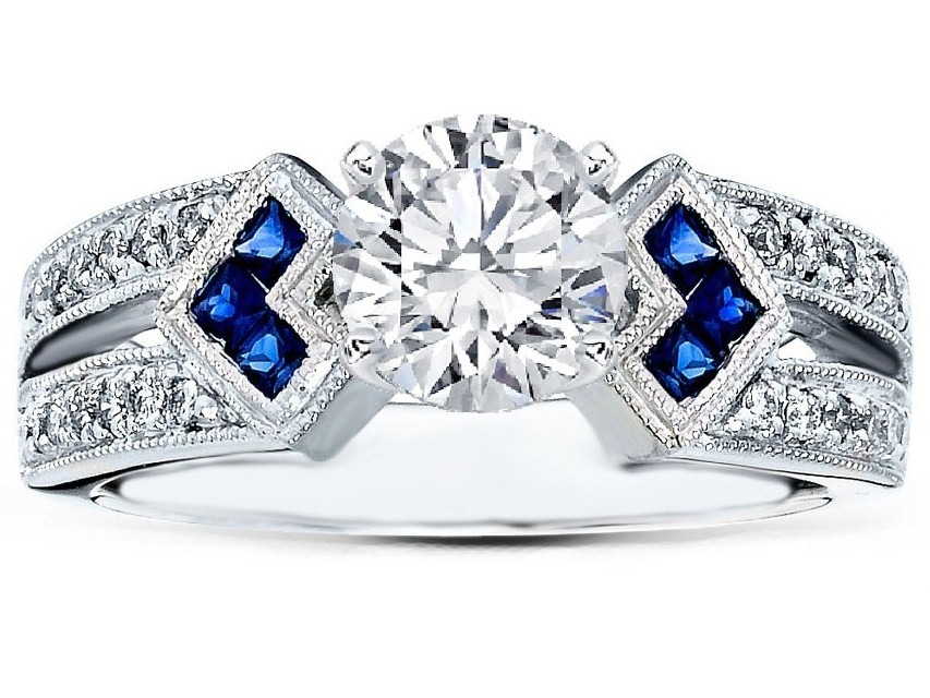 Diamond Engagement Ring Trio Blue Sapphire double Diamond band