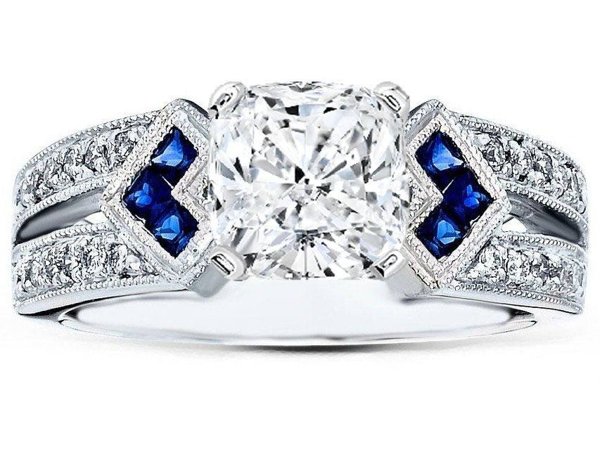 Cushion Diamond Engagement Ring Trio Blue Sapphire double Diamond band