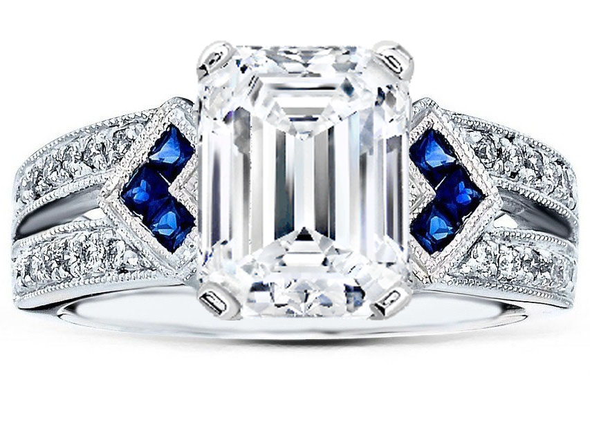 Emerald Diamond Engagement Ring Trio Blue Sapphire double Diamond band in 14K White Gold