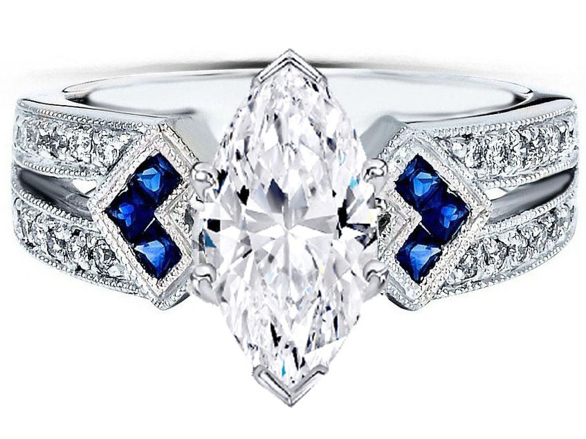 Marquise Diamond Engagement Ring Trio Blue Sapphire double diamond band in 14K White Gold