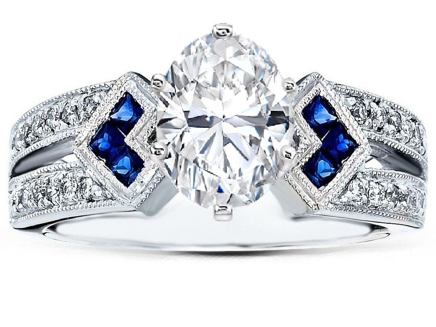 Oval Diamond Engagement Ring Trio Blue Sapphire Double Diamond Band In 14K  White Gold