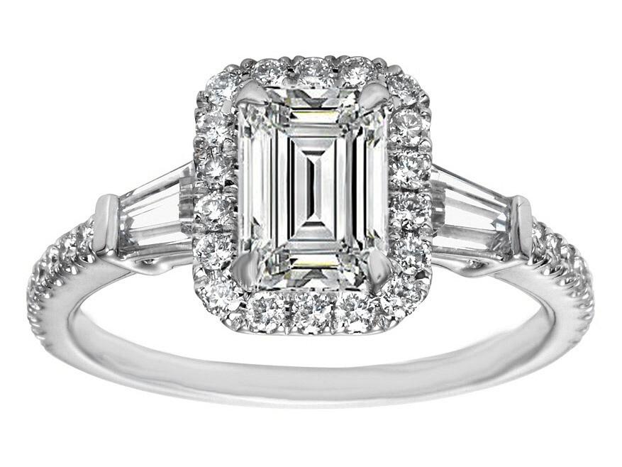 Engagement Ring Emerald Cut Diamond Halo Engagement Ring Baguette
