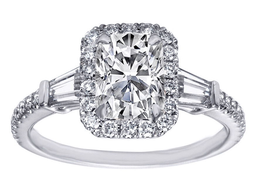 Cushion Cut Diamond Halo Engagement Ring Baguette Side Stones in 14K White Gold