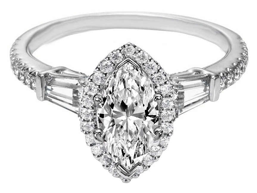 Marquise Diamond Halo Engagement Ring Baguette Side Stones in 14K White Gold