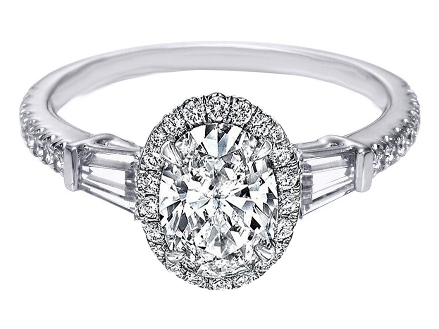 Oval Diamond Ring With Tapered Baguettes Engagement Ring Oval Diamond
