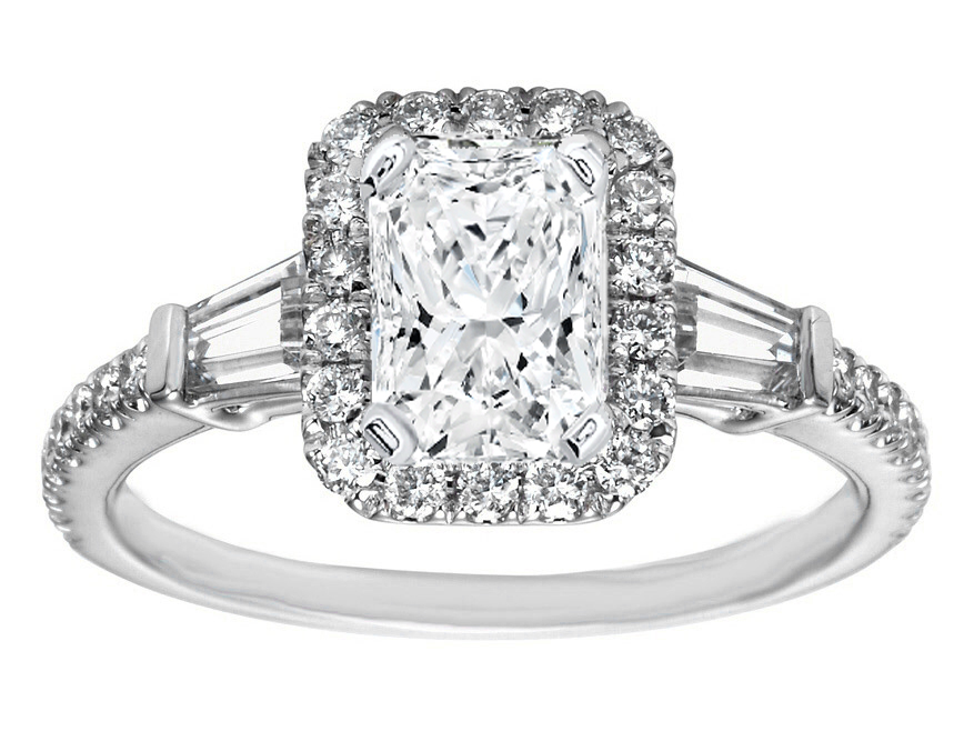 Radiant Diamond Halo Engagement Ring Baguette Side Stones in 14K White Gold