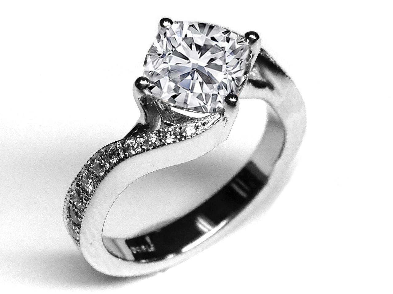 Cushion Diamond Swirl Engagement Ring 035 Tcw