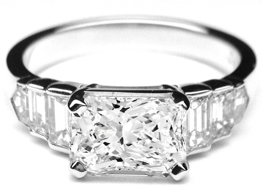 Horizontal Radiant Cut Diamond Step Up Engagement Ring in 14K White Gold