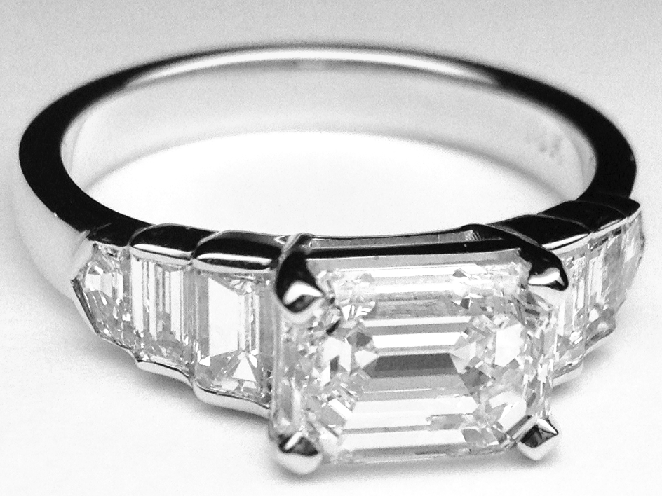 Horizontal Emerald Cut Diamond Step Up Engagement Ring in White Gold