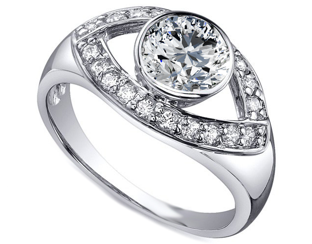 Open Eye Diamond Engagement Ring in 14K White Gold