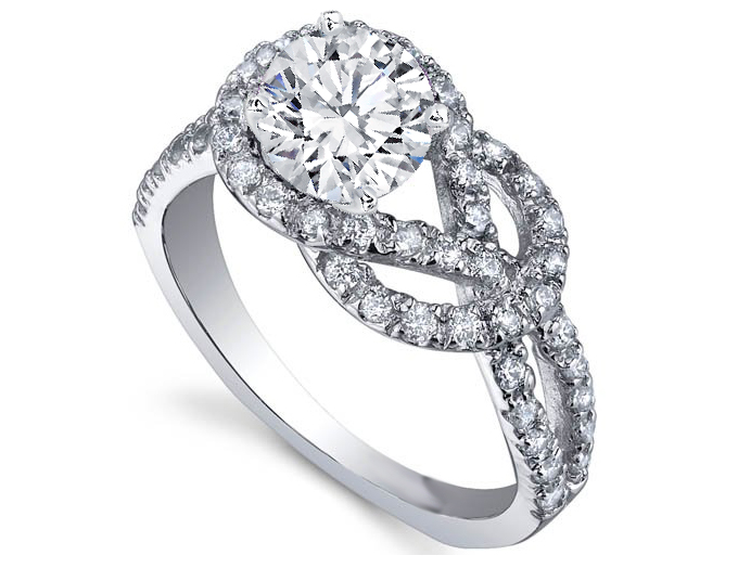 Love Knot Diamond Engagement Ring 0.4 tcw in 14K White Gold
