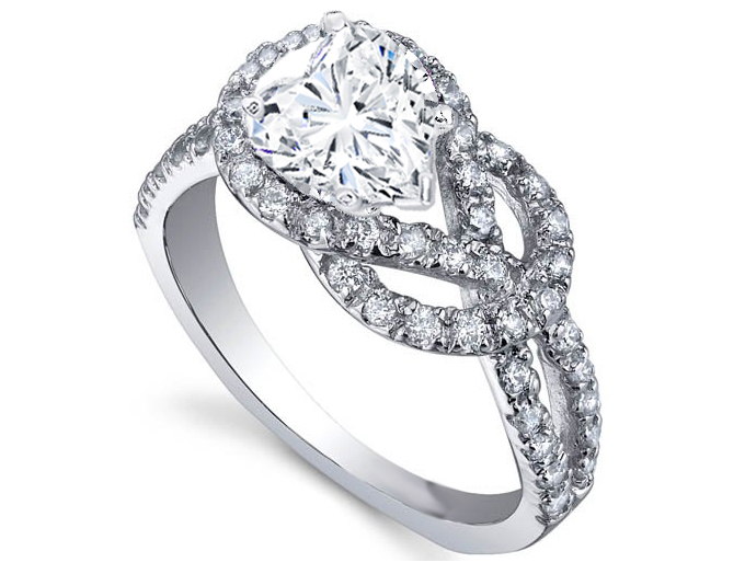 Love Knot Heart Diamond Engagement Ring 0.4 tcw