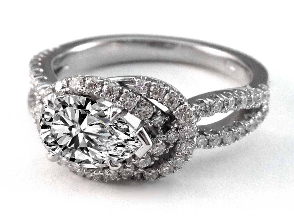 Love Knot Pear Shape Diamond Engagement Ring 0.4 tcw in 14K White Gold