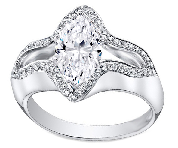 Marquise Diamond Bird Engagement ring in 14K White Gold