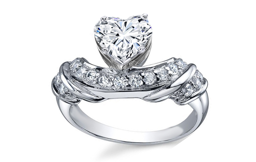 Heart Shape Diamond Engagement Ring 0.16 tcw in 14K White Gold