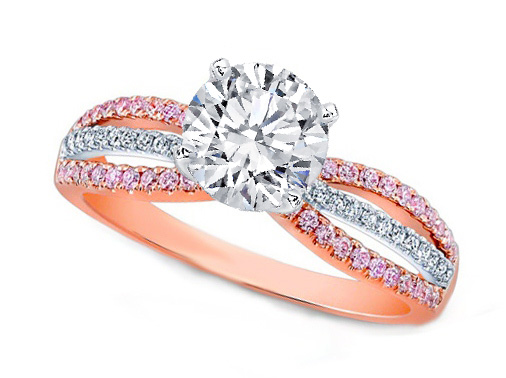 Three-Row Natural Pink Diamonds Engagement Ring 0.72 tcw in 14K Pink Gold