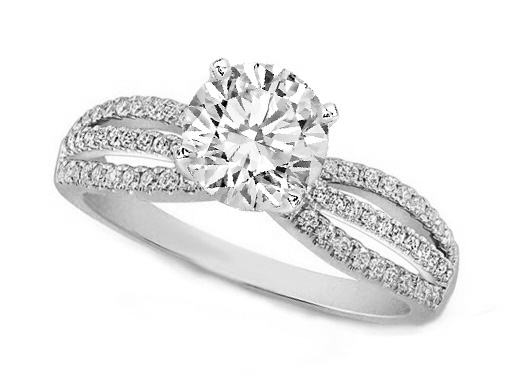 Three-Row Diamonds Engagement ring 0.74 tcw in 14K White Gold