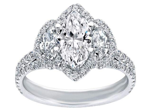 Three Stone Marquise Diamond Engagement Ring in 14K White Gold