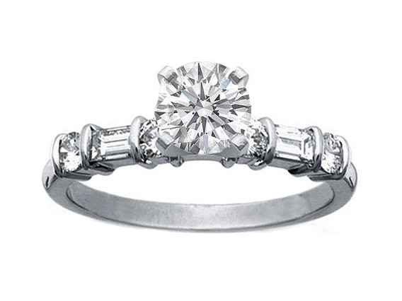 Platinum Alternating Round & Baguette diamonds Engagement Ring 0.4 tcw.