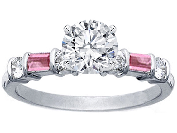Diamond Engagement Ring Pink Sapphires Baguette Band in 14K White Gold