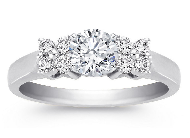 Engagement Ring Duo Floral Diamond Engagement Ring 0 24 in 14K White Gold ES