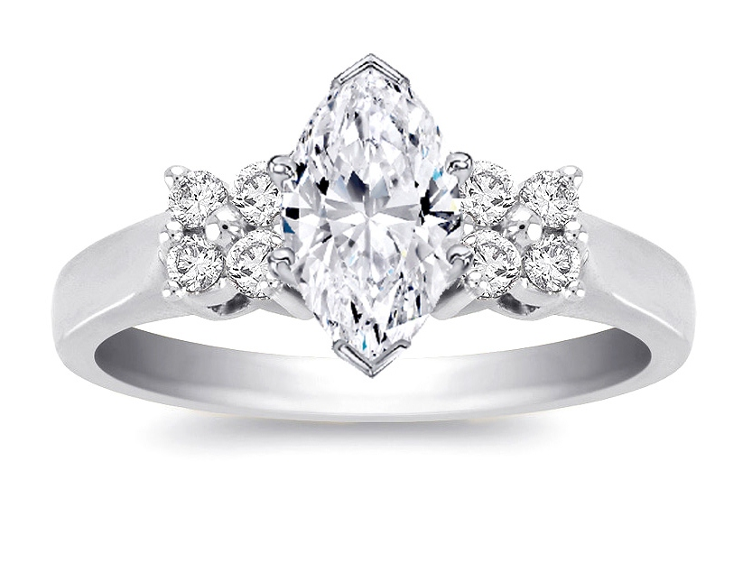 Duo Floral Marquise Diamond Engagement Ring 0.24 in 14K White Gold