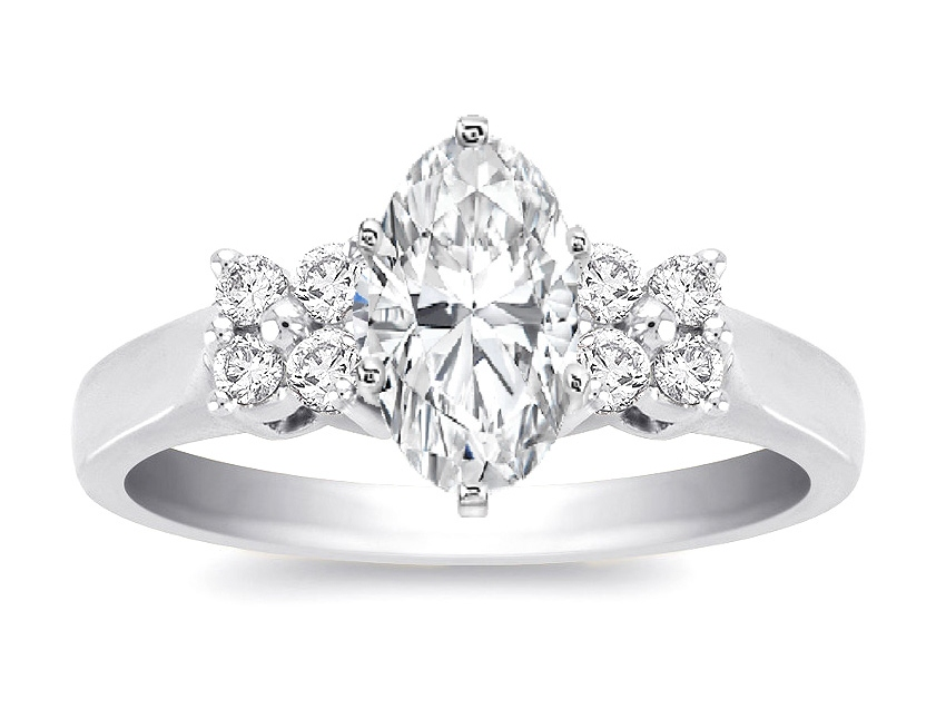 Duo Floral Oval Diamond Engagement Ring 0.24 in 14K White Gold