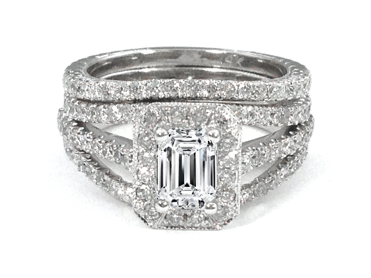 Trio Band Emerald Cut Diamond Engagement Ring & Matching Wedding Band