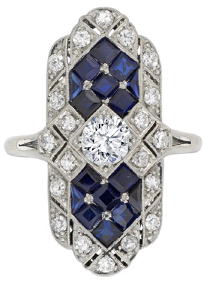 Diamond and Blue Sapphire Edwardian Buckler Engagement Ring in 14k White Gold