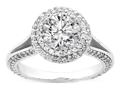 Double Diamond Halo Split band Engagement Ring in 14K White Gold