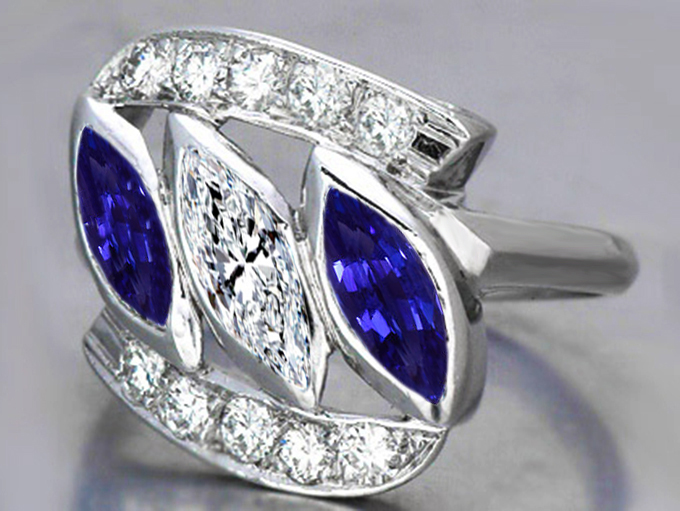 Three Stone Marquise Diamond Engagement Ring, Blue Sapphire Side Stones in 14K White Gold