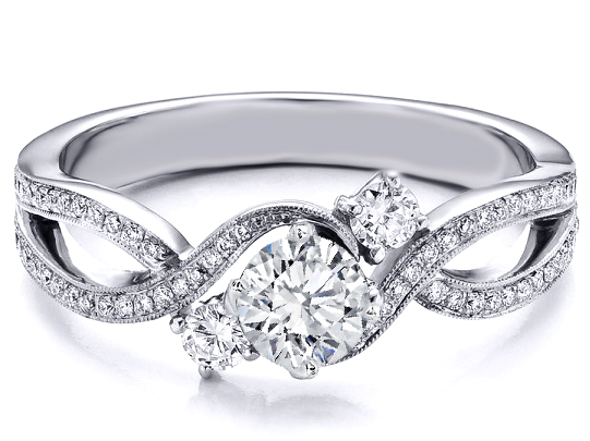 three stone infinity diamond engagement ring 068 tcw in 14k white gold - Infinity Wedding Rings