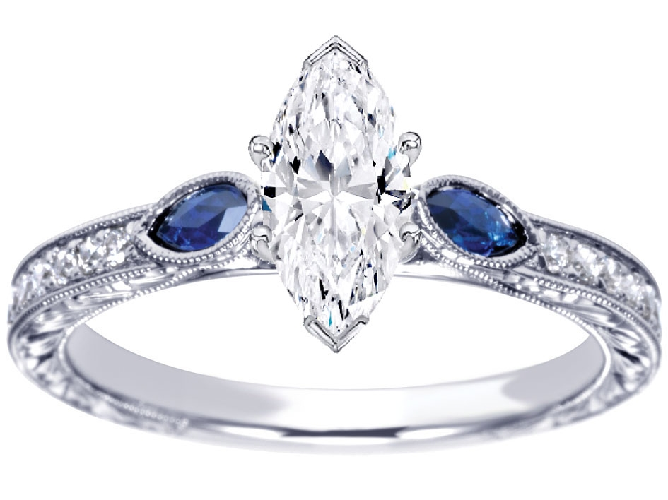 Three Stone Marquise Diamond Engagement Ring Blue Sapphire side stones Hand engraved White Gold band