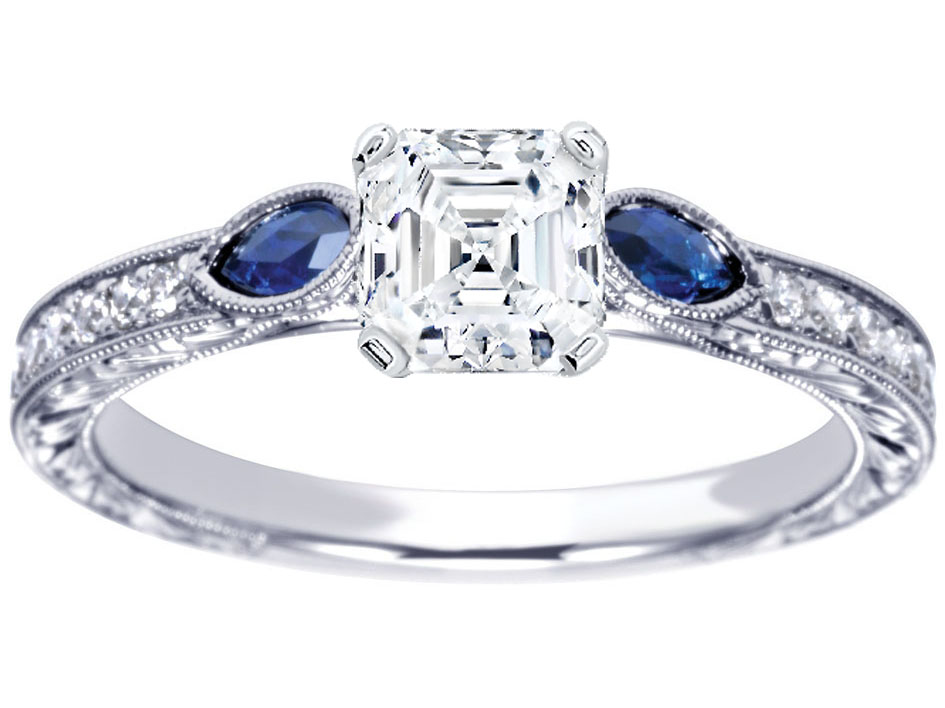 Asscher Diamond Engagement Ring Blue Sapphire Marquise side stones Hand engraved White Gold band