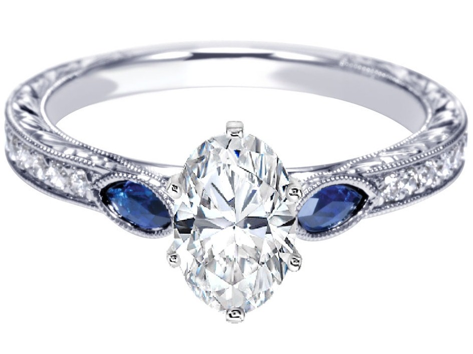 Engagement Ring Oval Diamond Engagement Ring Blue