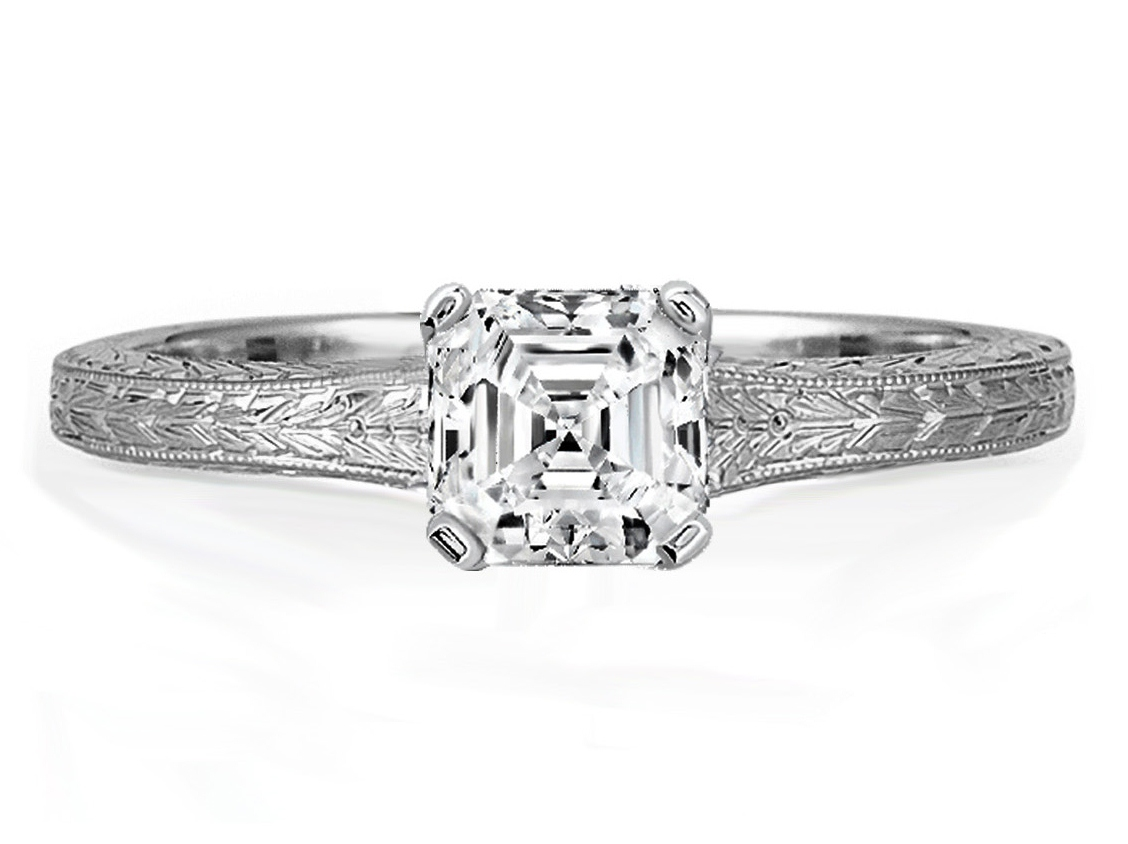 Asscher Diamond Solitaire Wheat Engraved Engagement Ring in White Gold