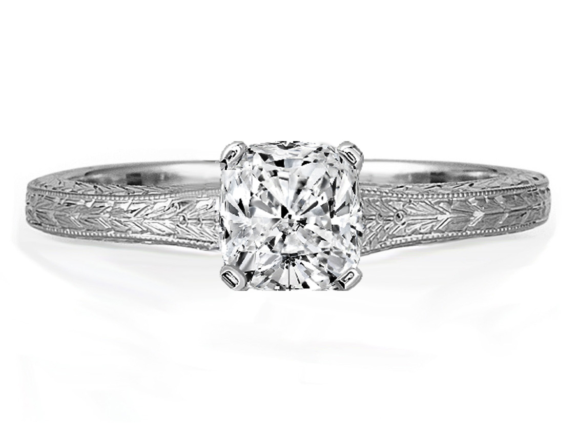 Cushion Diamond Solitaire Wheat Engraved Engagement Ring in White Gold
