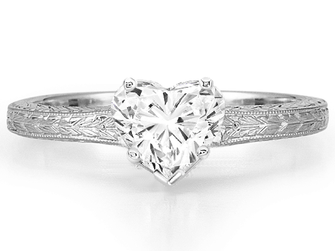 Heart Diamond Solitaire Wheat Engraved  Engagement Ring in 14K White Gold