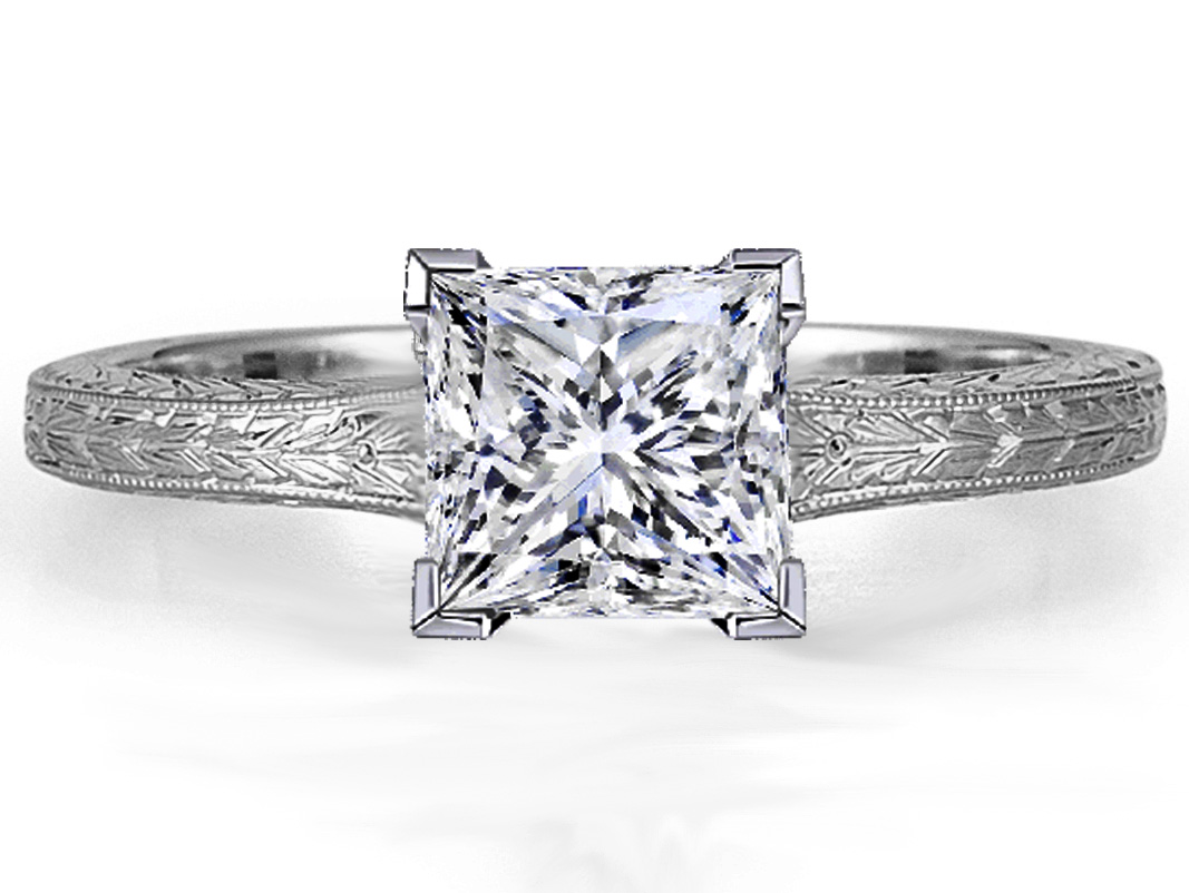 hand engagement diamond white gold halo rings shank gabriel wedding with etched flower ring
