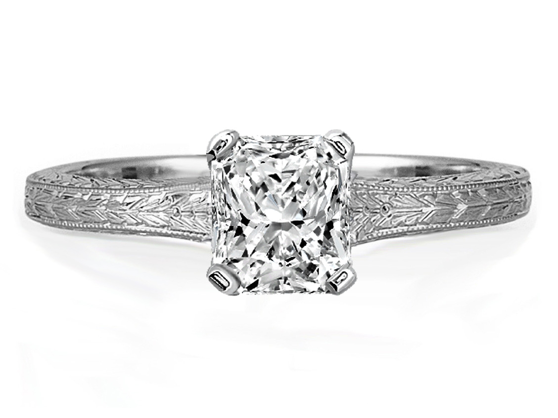 Radiant Diamond Solitaire Wheat Engraved Engagement Ring In 14k White Gold