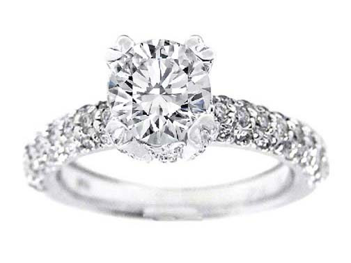 Diamond Engagement Ring with Pave Set Diamonds 0.75 tcw.
