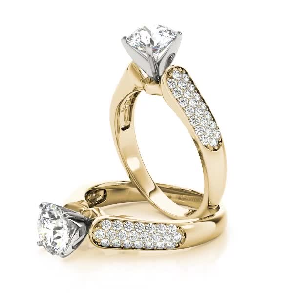 Multi-Row Diamond Engagement Ring Yellow Gold