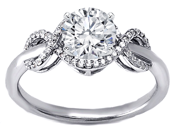 Infinity Diamond Engagement Ring in 14K White Gold ...