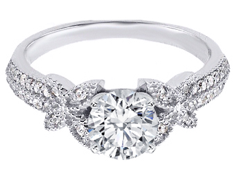 butterfly diamond engagement ring in 14k white gold - Butterfly Wedding Rings